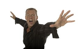 Excited successful businessman. Successful businessman shows his excitement royalty free stock photos