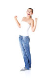 Excited teen woman with fists up Royalty Free Stock Image