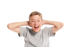 Excited teenage boy Stock Photography