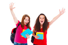 Excited teenage friends. With books Royalty Free Stock Photos