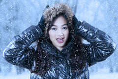 Excited teenage girl wearing winter clothes Royalty Free Stock Photography