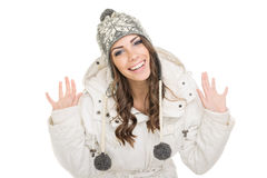 Excited teenage girl wearing winter clothes Royalty Free Stock Photo