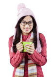 Excited teenage girl in winter clothes Royalty Free Stock Images