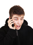 Excited Teenager with Cellphone Royalty Free Stock Images