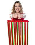 Excited teenager holding shopping bags Royalty Free Stock Photo