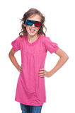 Excited ten year girl in stereo glasses. Standing over white background royalty free stock photography