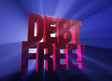 Excited To Be Debt Free!. Viewed at a dramatic angle, a bold, red DEBT FREE! stands on a dark blue background brilliantly backlit with light rays shining through Stock Photo