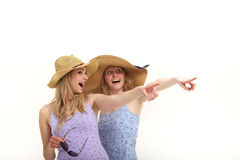 Excited tourists pointing while sightseeing Royalty Free Stock Images