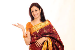 Excited traditional Indian woman stock photos