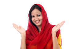 Excited traditional young indian woman Royalty Free Stock Image