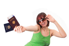 Excited traveler. With her passports Stock Image