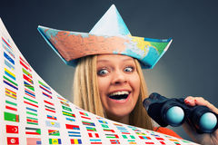 Excited traveler girl Royalty Free Stock Photos