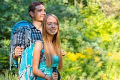 Excited Travelers Young Man and Woman Traveling Outdoor Stock Image