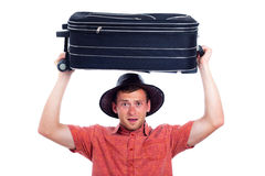Excited traveller with luggage Royalty Free Stock Images