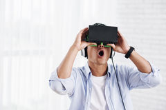 Excited with virtual reality Stock Photography