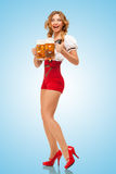 Excited waitress. Royalty Free Stock Photography