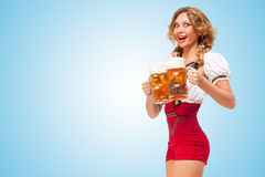 Excited waitress. Royalty Free Stock Images