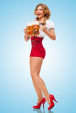 Excited waitress. Stock Photography