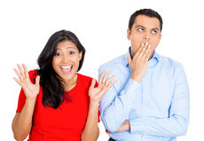 Excited wife, bored husband Stock Image