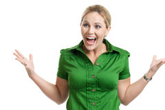 Excited woman. Portrait of an excited woman with hand gestures isolated on white Royalty Free Stock Photography