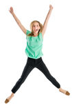 Excited Woman With Arms Raised In Mid-Air. Full length portrait of excited young woman with arms raised in mid-air isolated against white background Stock Photography