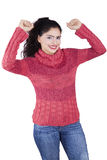Excited Woman with Arms Raised Royalty Free Stock Photo