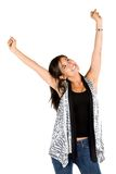 Excited woman with arms up Royalty Free Stock Photo