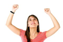 Excited woman with arms up Stock Photography