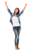 Excited woman with arms up Royalty Free Stock Images