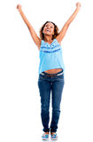 Excited woman with arms up Royalty Free Stock Photography