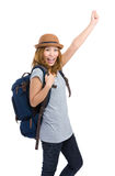 Excited woman with backpack Royalty Free Stock Photo