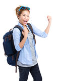 Excited woman backpack traveler. Isolated on white Royalty Free Stock Images