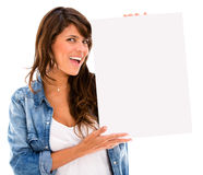 Excited woman with a banner Royalty Free Stock Photography