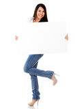 Excited woman with a banner ad Stock Photography