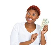 Excited woman with cash Stock Photography