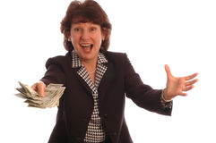 Excited woman with cash 414 Royalty Free Stock Photo