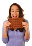 Excited woman with chocolate Royalty Free Stock Photos