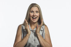 Excited woman clapping hands, horizontal Stock Photo