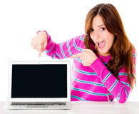 Excited woman with a computer Stock Photography