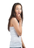 Excited woman covering her mouth Stock Photo