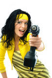 Excited woman with a drill royalty free stock photo