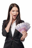 Excited woman with euro money in han Royalty Free Stock Photo