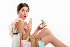 Excited Woman And Gift Box Royalty Free Stock Photography