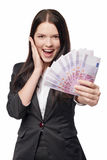 Excited woman giving euro money Royalty Free Stock Photography