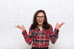 Excited Woman Happy Smile Office Stock Images