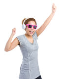 Excited woman with headphone Stock Photography