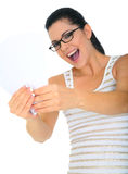 Excited Woman Holding Blank Cards Stock Photography
