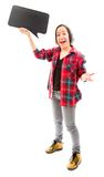 Excited woman holding a blank speech bubble Stock Images