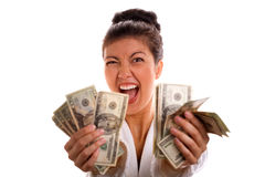Excited Woman Holding Cash Stock Image