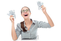 Excited woman holding money Royalty Free Stock Images